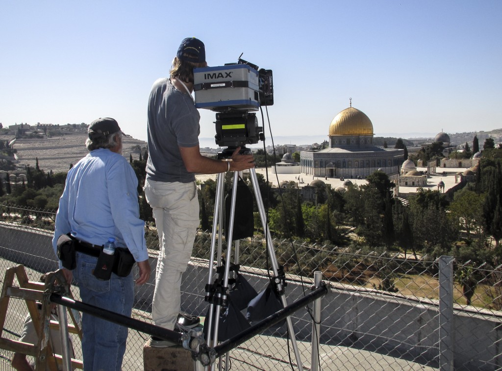 From L to R: Director of Photography Reed Smoot, ASC, with Writer / Director Daniel Ferguson (at the camera) line up a shot of the Dome of the Rock with the IMAX® camera.