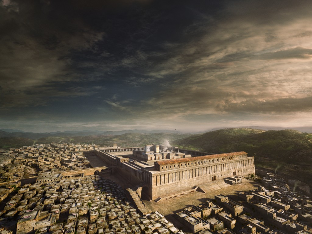 A computer-generated recreation of Jerusalem in the 1st century CE (AD), featuring the latest archaeological consensus on what the 2nd Temple might have looked like.
