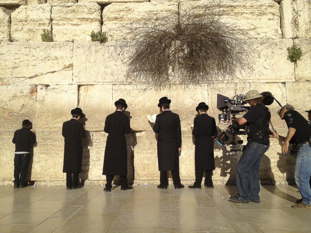 Filming at the Western Wall with a 3D steadicam rig.